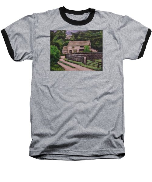 Baseball T-Shirt featuring the painting Cottage Road by Ron Richard Baviello