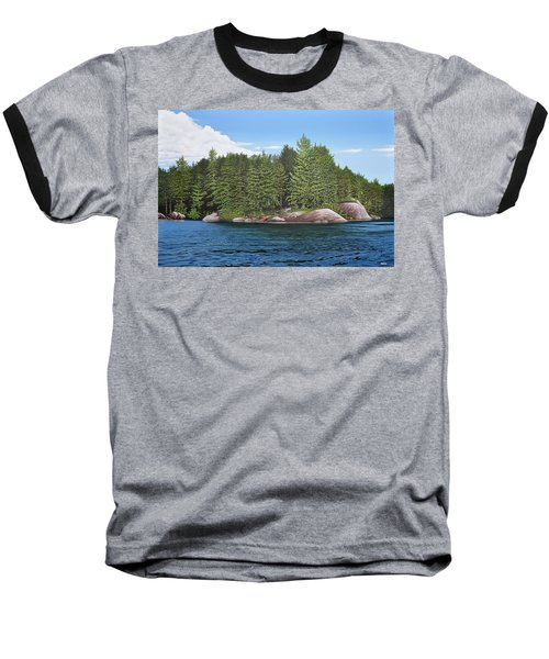 Baseball T-Shirt featuring the painting Cottage View Silver Lake by Kenneth M Kirsch