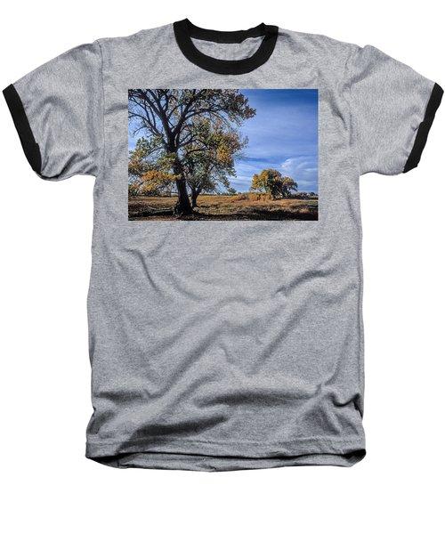 Cottonwood #5 Fall Ranch Colorado Blue Sky Baseball T-Shirt by John Brink