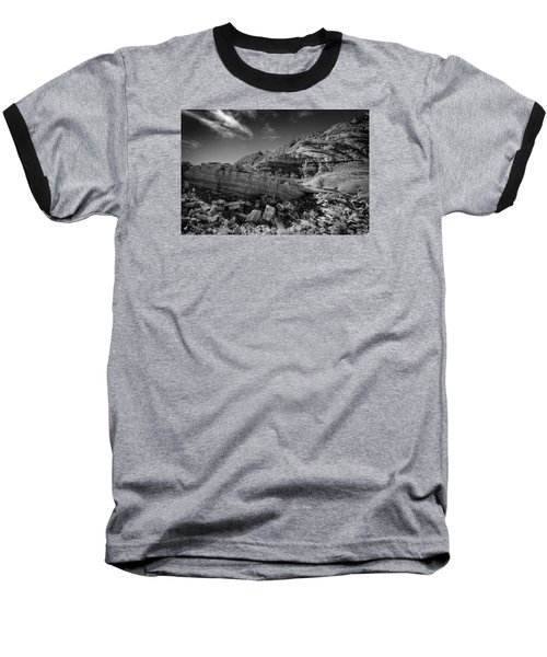 Cottonwood Creek Strange Rocks 3 Bw Baseball T-Shirt