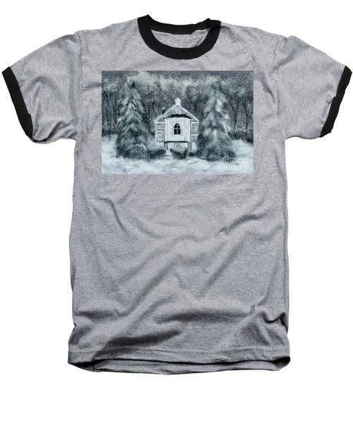 Baseball T-Shirt featuring the digital art Country Church On A Snowy Night by Lois Bryan