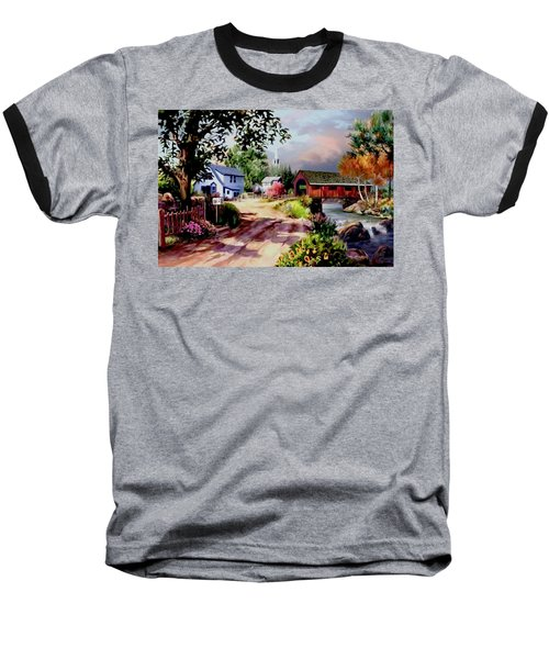 Country Covered Bridge Baseball T-Shirt by Ron Chambers