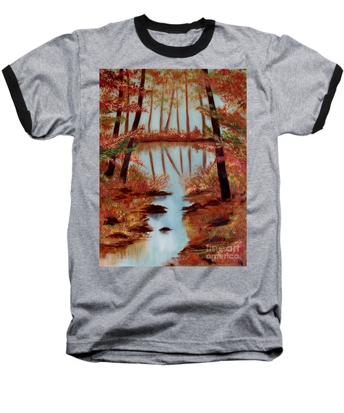 Baseball T-Shirt featuring the painting Country Reflections by Leslie Allen