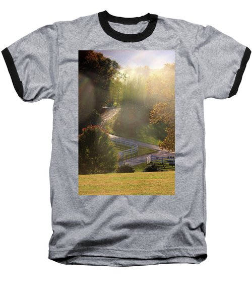 Baseball T-Shirt featuring the photograph Country Road In Rural Virginia, With Trees Changing Colors In Autumn by Emanuel Tanjala