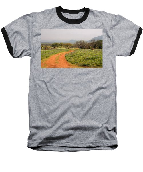 Country Road With Wild Flowers Baseball T-Shirt