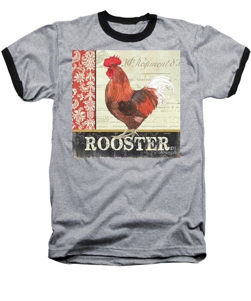 Baseball T-Shirt featuring the painting Country Rooster 2 by Debbie DeWitt