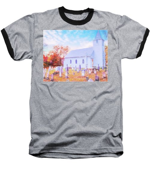 Country White Church And Old Cemetery. Baseball T-Shirt