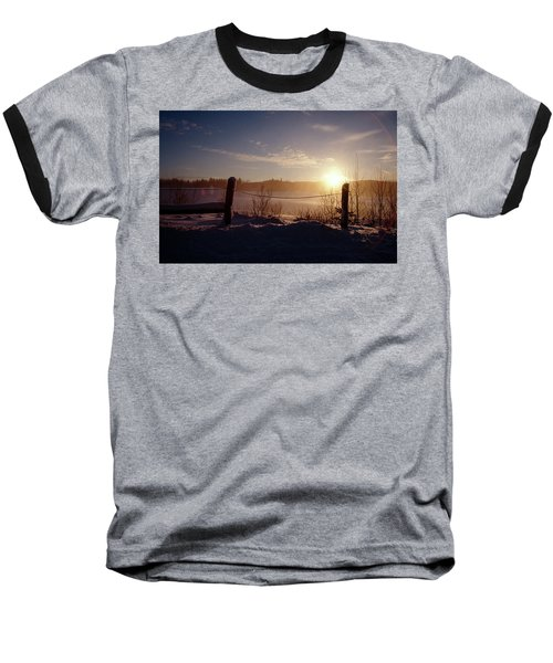 Country Winter Sunset Baseball T-Shirt