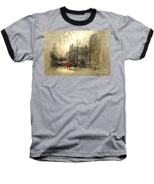 Couple In City Baseball T-Shirt