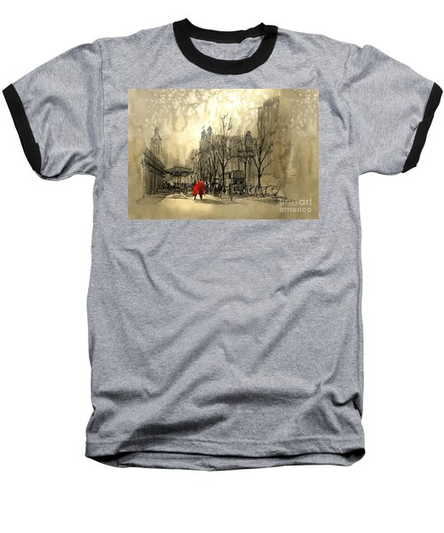 Couple In City Baseball T-Shirt