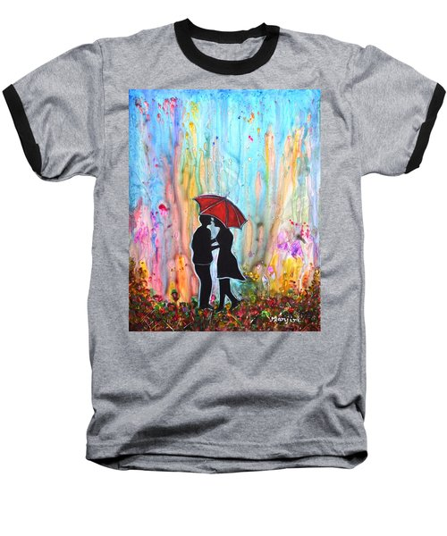Couple On A Rainy Date Romantic Painting For Valentine Baseball T-Shirt