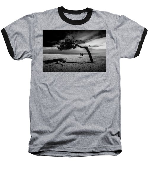 Baseball T-Shirt featuring the photograph Couple On Cabrillo Beach By Los Angeles California by Randall Nyhof