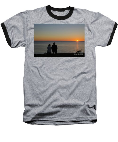 Baseball T-Shirt featuring the photograph Couple Silhouettes By Sunset by Kennerth and Birgitta Kullman