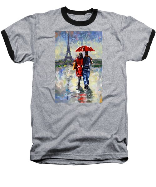 couple walking in the rain Paris Baseball T-Shirt by Tim Gilliland