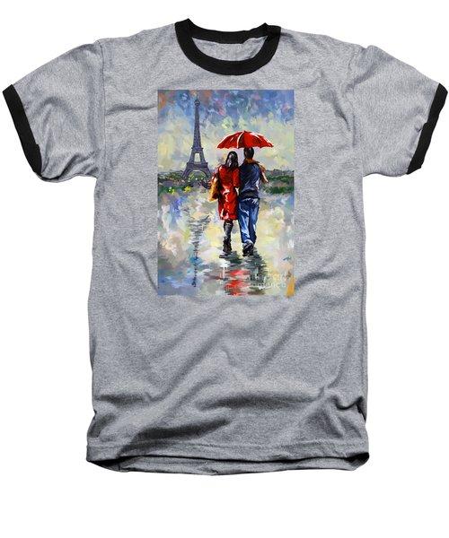 couple walking in the rain Paris Baseball T-Shirt