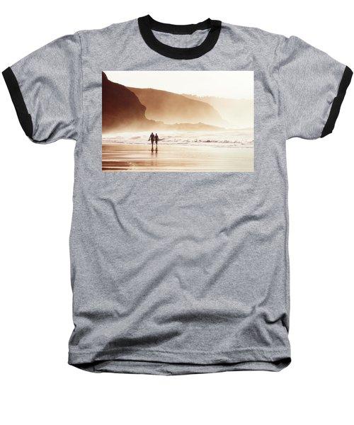 Couple Walking On Beach With Fog Baseball T-Shirt