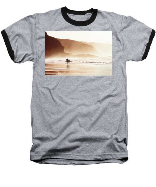 Couple Walking On Beach With Fog Baseball T-Shirt