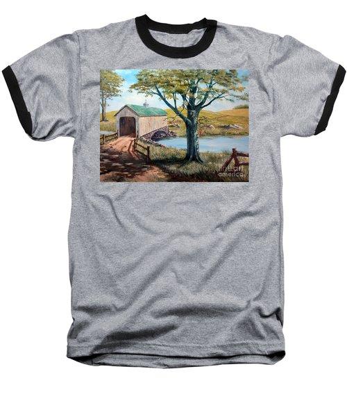 Covered Bridge, Americana, Folk Art Baseball T-Shirt