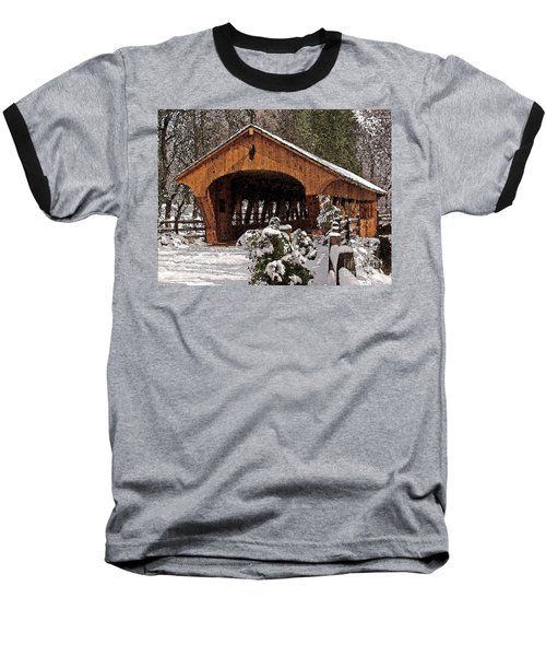 Covered Bridge At Olmsted Falls-winter-2 Baseball T-Shirt
