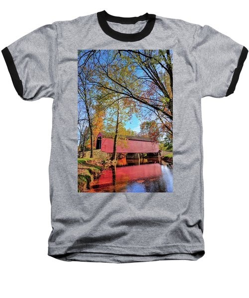 Covered Bridge In Maryland In Autumn Baseball T-Shirt
