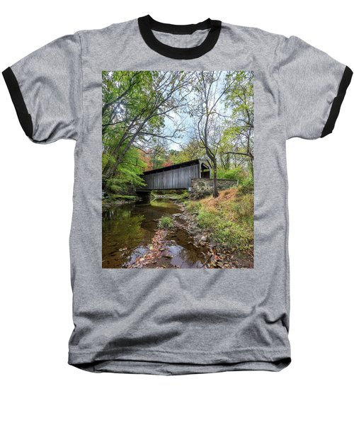 Covered Bridge In Pennsylvania During Autumn Baseball T-Shirt