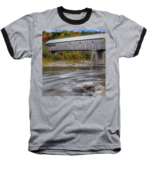 Covered Bridge In Vermont With Fall Foliage Baseball T-Shirt