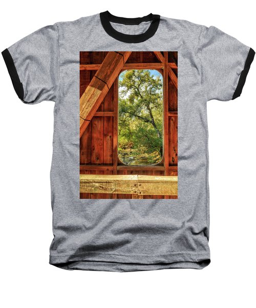Baseball T-Shirt featuring the photograph Covered Bridge Window by James Eddy