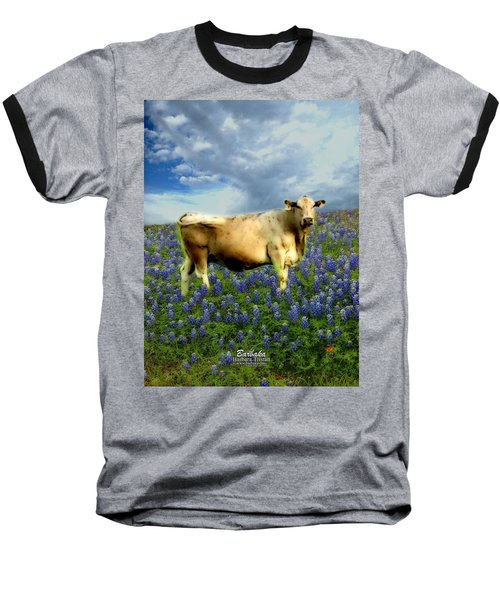 Baseball T-Shirt featuring the photograph Cow And Bluebonnets by Barbara Tristan