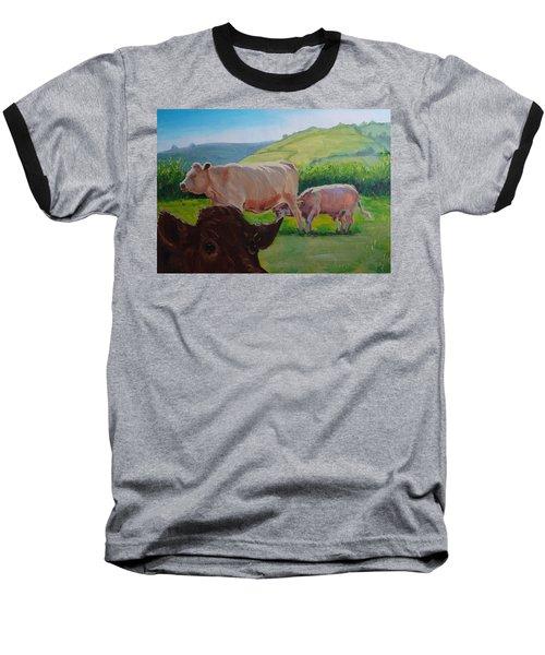 Cow And Calf Painting Baseball T-Shirt