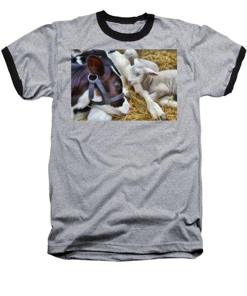 Cow And Lambs Baseball T-Shirt
