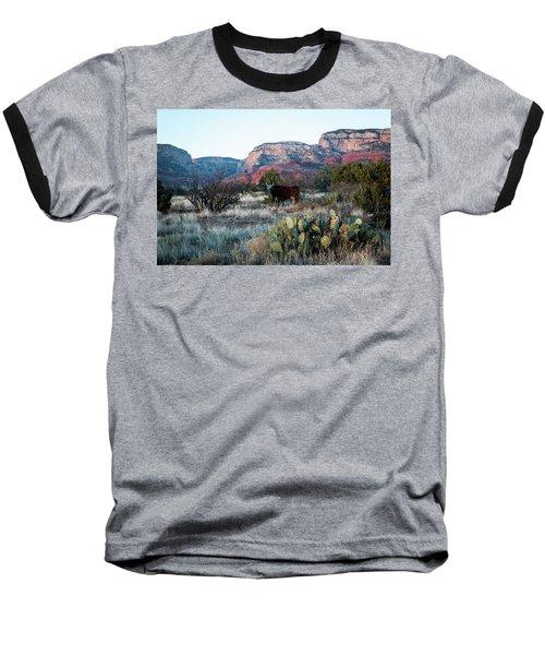 Cow At Red Rock Baseball T-Shirt