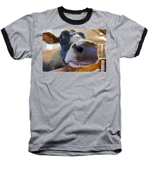 Cow Face Close Up Baseball T-Shirt