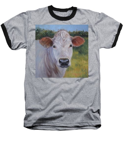 Cow Painting Ms Ivory Baseball T-Shirt by Cheri Wollenberg