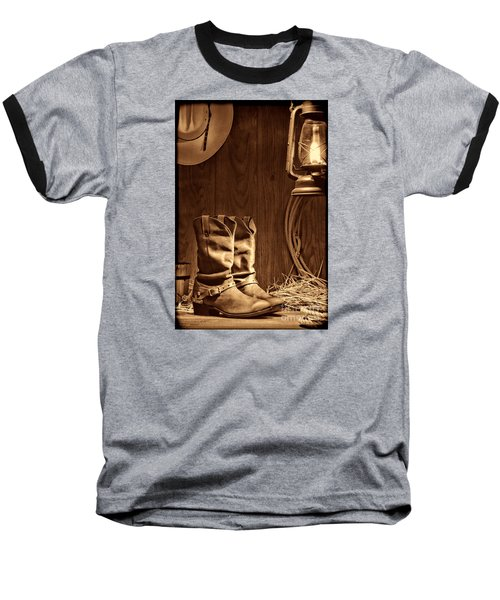 Cowboy Boots At The Ranch Baseball T-Shirt by American West Legend By Olivier Le Queinec