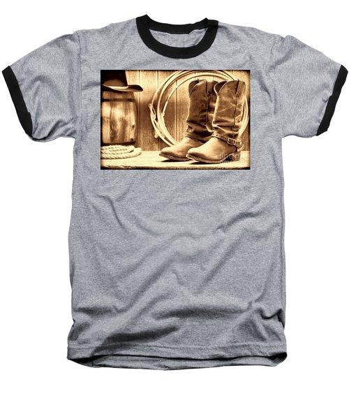 Cowboy Boots On The Deck Baseball T-Shirt