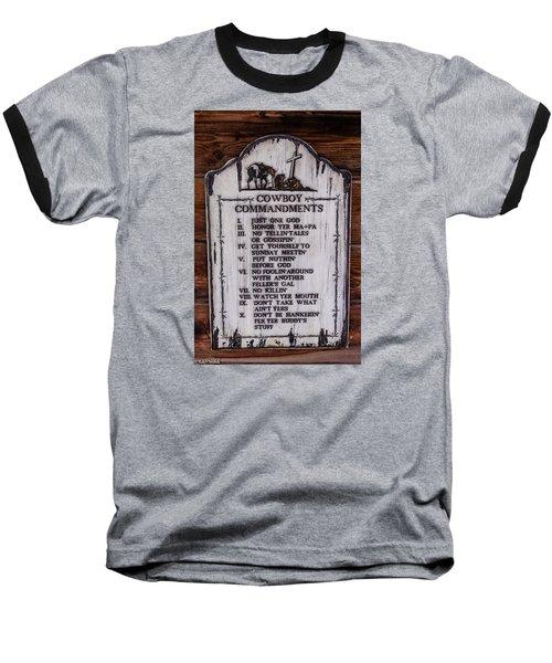 Cowboy Commandments Baseball T-Shirt