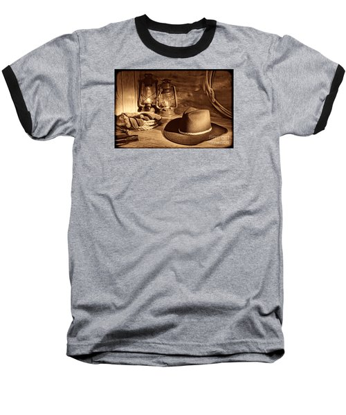 Cowboy Hat And Kerosene Lanterns Baseball T-Shirt by American West Legend By Olivier Le Queinec