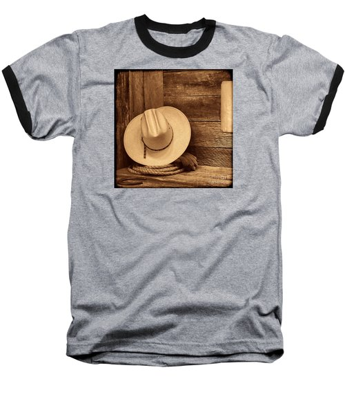 Cowboy Hat In Town Baseball T-Shirt by American West Legend By Olivier Le Queinec