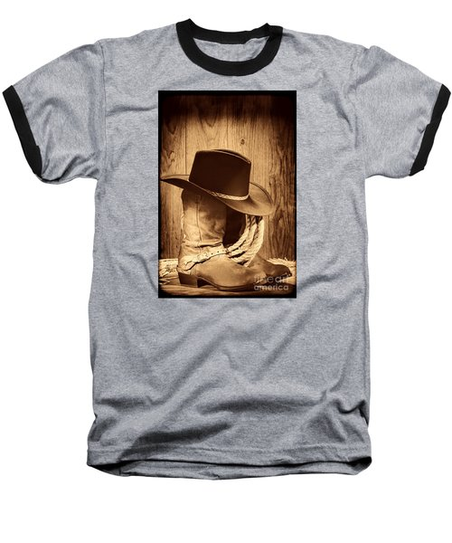 Cowboy Hat On Boots Baseball T-Shirt by American West Legend By Olivier Le Queinec