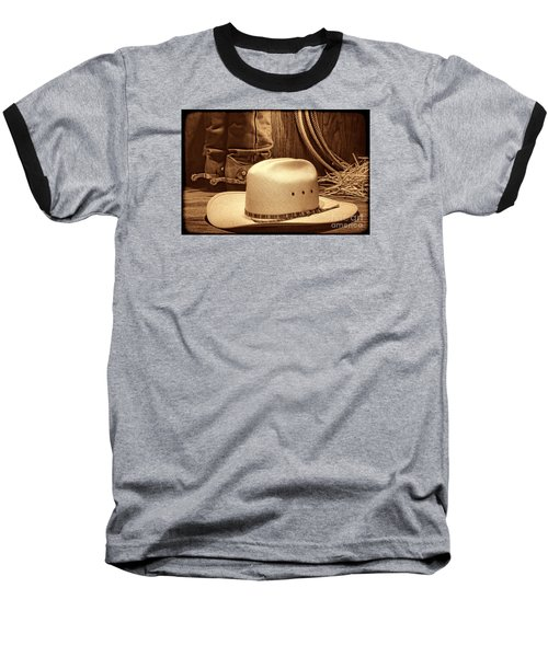 Cowboy Hat With Western Boots Baseball T-Shirt by American West Legend By Olivier Le Queinec
