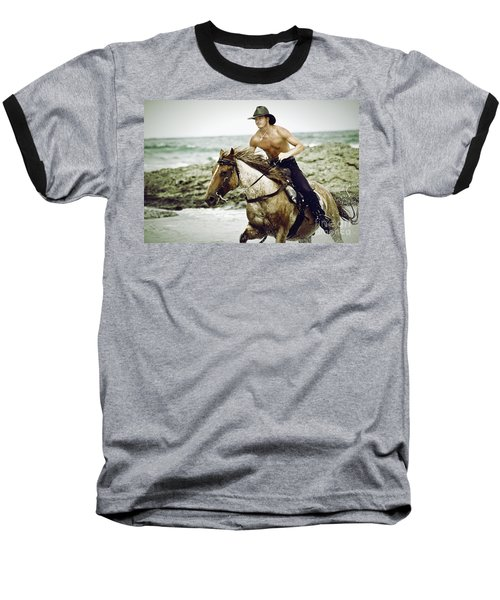 Cowboy Riding Horse On The Beach Baseball T-Shirt