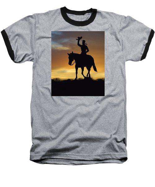 Cowboy Slilouette Baseball T-Shirt by Linda Phelps