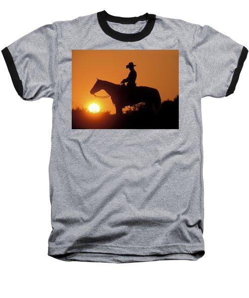 Cowboy Sunset Silhouette Baseball T-Shirt