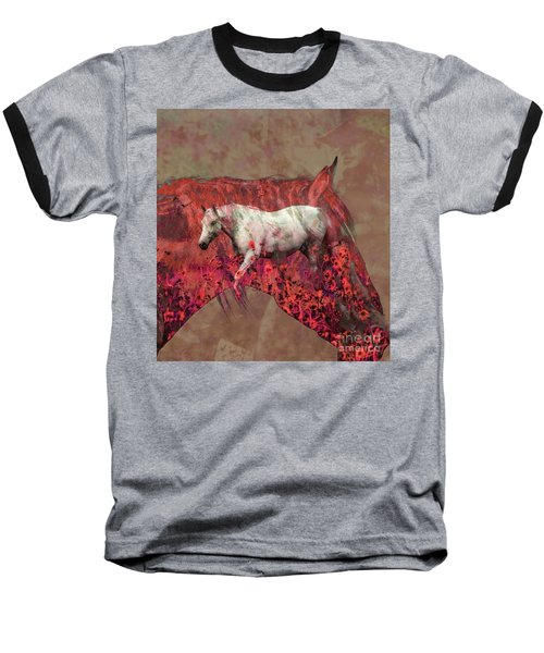 Cowgirl And Her Horses Baseball T-Shirt by Toma Caul