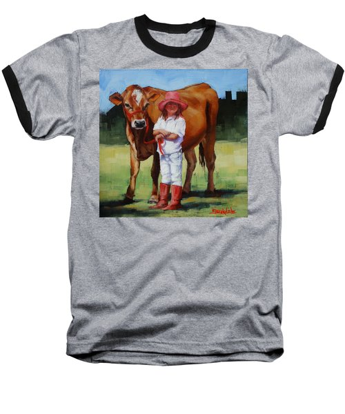 Baseball T-Shirt featuring the painting Cowgirl Besties by Margaret Stockdale