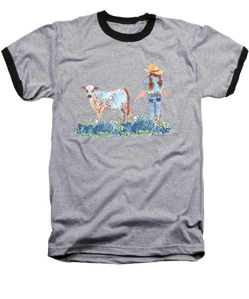 Cowgirl Calf In The Bluebonnets Pe005 Baseball T-Shirt