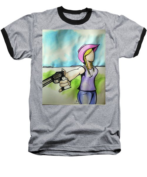 Cowgirl With Gun Baseball T-Shirt