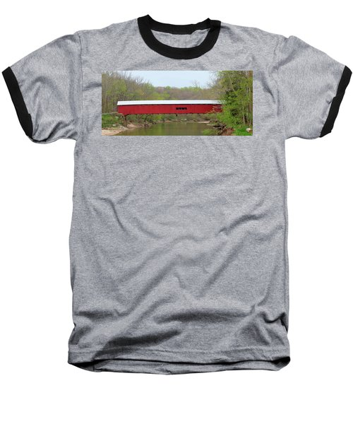 Baseball T-Shirt featuring the photograph Cox Ford Covered Bridge - Sideview by Harold Rau