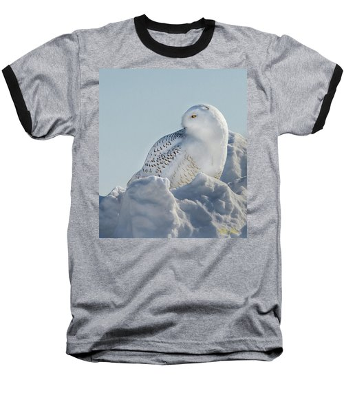 Baseball T-Shirt featuring the photograph Coy Snowy Owl by Rikk Flohr