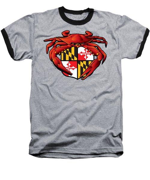 Crab Feast Maryland Flag Crest Baseball T-Shirt